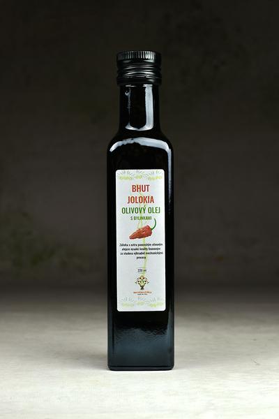Olivový chilli olej s chilli Bhut Jolokia